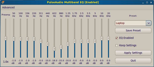 Screenshot des PulseAudio Equalizers